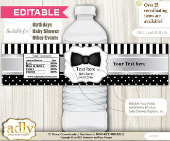 DIY Text Editable Boy Bow Tie Water Bottle Label, Personalizable Wrapper Digital File, print at home for any event  vm