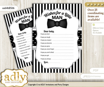 Boy Bow Tie Wishes for a Baby, Well Wishes for a Little Bow Tie Printable Card, Little Man, Black Silver