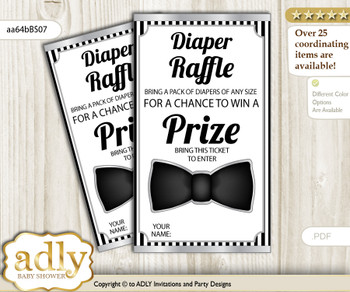 Boy Bow Tie Diaper Raffle Printable Tickets for Baby Shower, Black Silver, Little Man