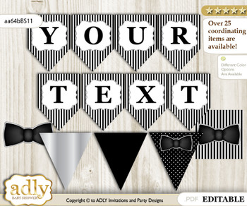 DIY Personalizable Boy Bow Tie Printable Banner for Baby Shower, Black Silver, Little Man