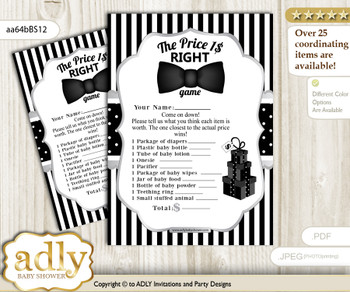 Printable Boy Bow Tie Price is Right Game Card for Baby Bow Tie Shower, Black Silver, Little Man