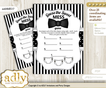 Boy Bow Tie Dirty Diaper Game or Guess Sweet Mess Game for a Baby Shower Black Silver, Little Man