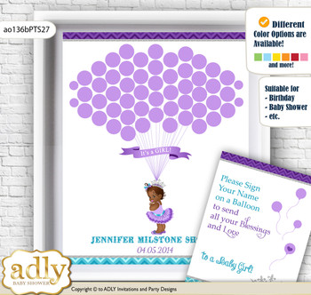 African Princess Guest Book Alternative for a Baby Shower, Creative Nursery Wall Art Gift, Purple Teal, Silver