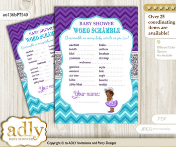 African Princess Word Scramble Game for Baby Shower  n