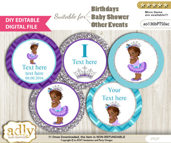 DIY Text Editable African Princess Cupcake Toppers Digital File, print at home, suitable for birthday, baby shower, baptism n