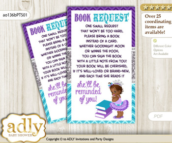Request a Book Instead of a Card for African Princess Baby Shower or Birthday, Printable Book DIY Tickets, Silver, Purple Teal n