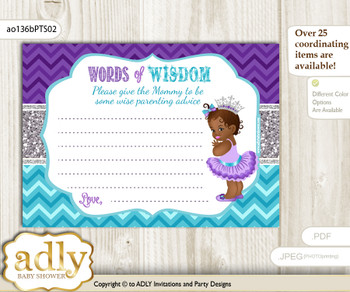 Purple Teal African Princess Words of Wisdom or an Advice Printable Card for Baby Shower, Silver
