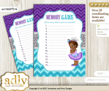 African Princess Memory Game Card for Baby Shower, Printable Guess Card, Purple Teal, Silver