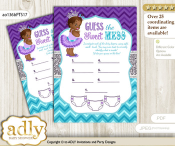 African Princess Dirty Diaper Game or Guess Sweet Mess Game for a Baby Shower Purple Teal, Silver