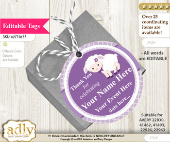 Girl Lamb Thank You Tags, Circle Favor Tags Personalizable for Shower, Birthday nn