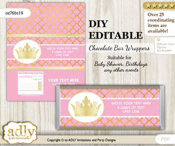 DIY Personalizable Pink Princess Chocolate Bar Candy Wrapper Label for Pink  baby shower, birthday Crown , editable wrappers
