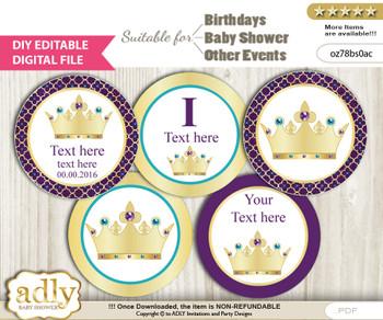 DIY Text Editable Royal Princess Cupcake Toppers Digital File, print at home, suitable for birthday, baby shower, baptism nn