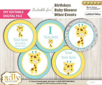 DIY Text Editable Baby Giraffe Cupcake Toppers Digital File, print at home, suitable for birthday, baby shower, baptism