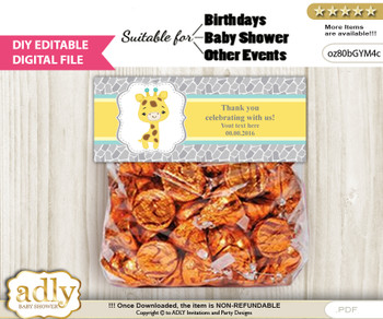 DIY Text Editable Baby Giraffe Goodie  Treat Bag Toppers, Favor Bag Digital File, print at home