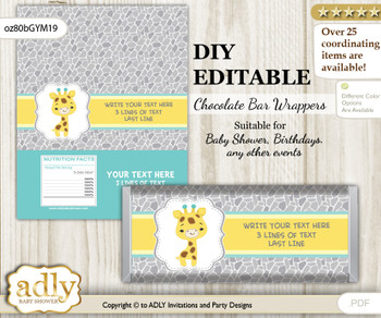 DIY Personalizable Baby Giraffe Chocolate Bar Candy Wrapper Label for Baby  baby shower, birthday Yellow Mint , editable wrappers