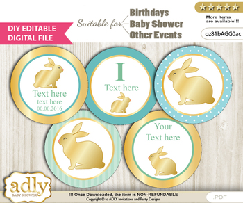 DIY Text Editable Neutral Bunny Cupcake Toppers Digital File, print at home, suitable for birthday, baby shower, baptism