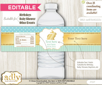 DIY Text Editable Neutral Bunny Water Bottle Label, Personalizable Wrapper Digital File, print at home for any event