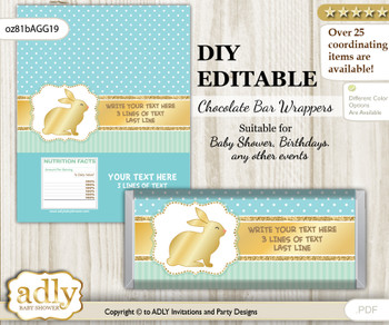 DIY Personalizable Neutral Bunny Chocolate Bar Candy Wrapper Label for Neutral  baby shower, birthday Sage , editable wrappers