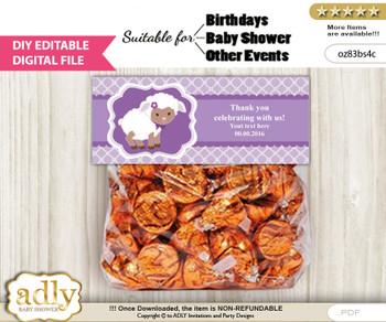 DIY Text Editable Purple Lamb Goodie  Treat Bag Toppers, Favor Bag Digital File, print at home