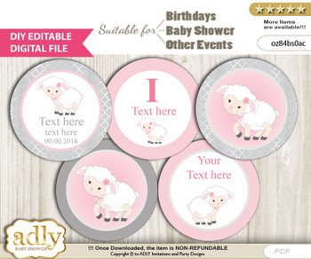 DIY Text Editable Pink Lamb Cupcake Toppers Digital File, print at home, suitable for birthday, baby shower, baptism