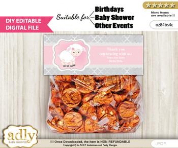 DIY Text Editable Pink Lamb Goodie  Treat Bag Toppers, Favor Bag Digital File, print at home