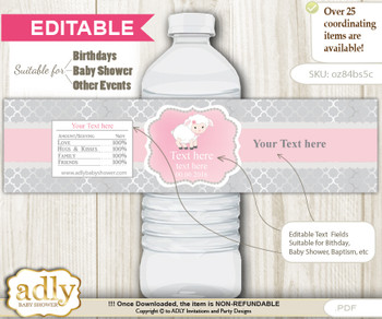 DIY Text Editable Pink Lamb Water Bottle Label, Personalizable Wrapper Digital File, print at home for any event
