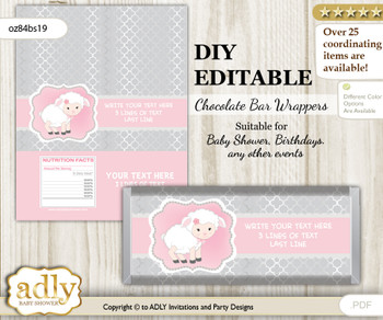 DIY Personalizable Pink Lamb Chocolate Bar Candy Wrapper Label for Pink  baby shower, birthday Sheep , editable wrappers