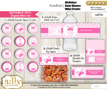 DIY Text Editable Pink Butterfly Baby Shower, Birthday digital package, kit-cupcake, goodie bag toppers, water labels, chocolate bar wrappers