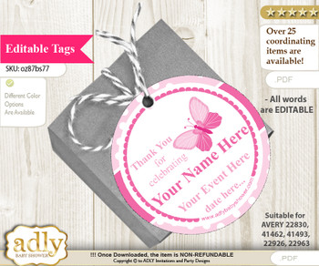 Pink Butterfly Thank You Tags, Circle Favor Tags Personalizable for Shower, Birthday