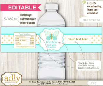 DIY Text Editable Neutral Butterfly Water Bottle Label, Personalizable Wrapper Digital File, print at home for any event