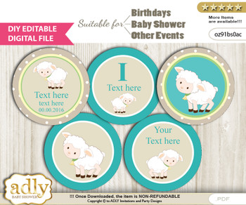 DIY Text Editable Neutral Lamb Cupcake Toppers Digital File, print at home, suitable for birthday, baby shower, baptism