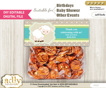 DIY Text Editable Neutral Lamb Goodie  Treat Bag Toppers, Favor Bag Digital File, print at home