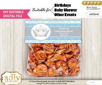 DIY Text Editable Silver Prince Goodie  Treat Bag Toppers, Favor Bag Digital File, print at home
