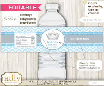 DIY Text Editable Silver Prince Water Bottle Label, Personalizable Wrapper Digital File, print at home for any event