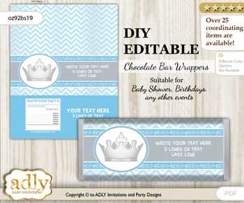 DIY Personalizable Silver Prince Chocolate Bar Candy Wrapper Label for Silver  baby shower, birthday Grey , editable wrappers