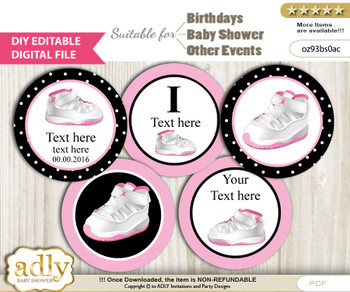 DIY Text Editable Girl Jumpman Cupcake Toppers Digital File, print at home, suitable for birthday, baby shower, baptism