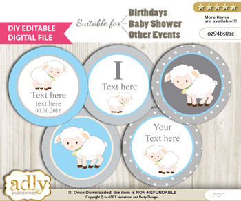 DIY Text Editable Boy Lamb Cupcake Toppers Digital File, print at home, suitable for birthday, baby shower, baptism