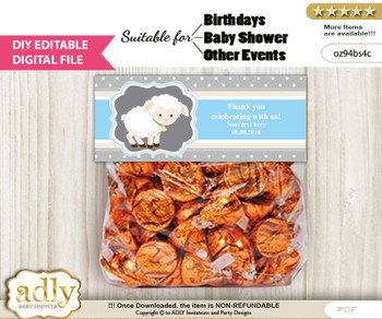 DIY Text Editable Boy Lamb Goodie  Treat Bag Toppers, Favor Bag Digital File, print at home
