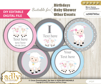 DIY Text Editable Twins Lamb Cupcake Toppers Digital File, print at home, suitable for birthday, baby shower, baptism h