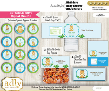 DIY Text Editable Boy Giraffe Baby Shower, Birthday digital package, kit-cupcake, goodie bag toppers, water labels, chocolate bar wrappers