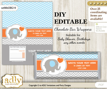 DIY Personalizable Boy Elephant Chocolate Bar Candy Wrapper Label for Boy  baby shower, birthday Grey Orange , editable wrappers nn
