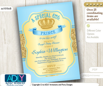 Baby Blue Gold Glitter Prince Invitation for baby shower, light blue color