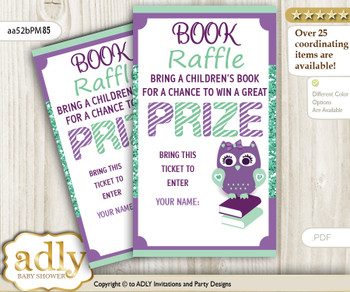 Book Raffle Ticket with Girl Owl for Baby Shower or Birthday, Printable Book DIY Tickets, Mint, Purple Green
