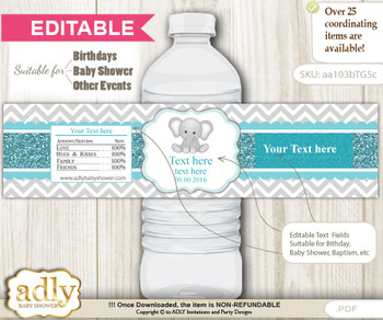 DIY Text Editable Peanut Unisex Water Bottle Label, Personalizable Wrapper Digital File, print at home for any event