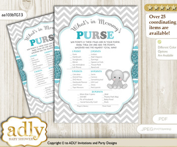 Peanut Unisex What is in Mommy's Purse, Baby Shower Purse Game Printable Card , Teal Gray,  Chevron