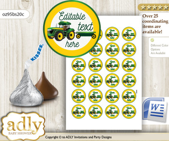 Editable John Deer Ispired Candy Kisses circle labels with Green Tractor