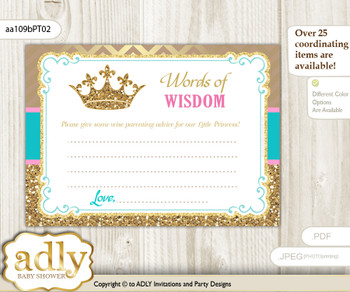 Pink Turquoise Princess  Royal Words of Wisdom or an Advice Printable Card for Baby Shower, Crown