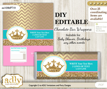 DIY Personalizable Princess  Royal Chocolate Bar Candy Wrapper Label for Princess  baby shower, birthday Pink Turquoise , editable wrappers