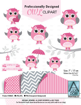 Baby Pink and Grey Girl Owl Clipart