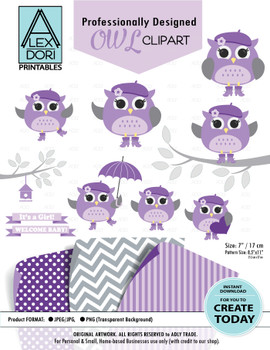 Baby Purple and Grey Girl Owl Clipart